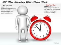 Business Integration Strategy 3d Man Standing With Alarm Clock Adaptable Concepts