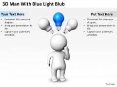 Business Intelligence Architecture Diagram 3d Man With Blue Light Blub PowerPoint Slides