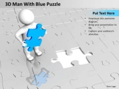 Business Intelligence Architecture Diagram 3d Man With Blue Puzzle PowerPoint Slides