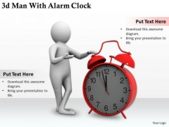 Business Intelligence Strategy 3d Man With Alarm Clock Concepts