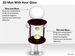 Business Intelligence Strategy 3d Man With Hour Glass Character Modeling