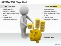 Business Intelligence Strategy 3d Man With Piggy Bank Character Modeling
