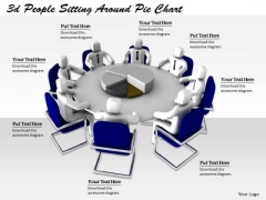 Business Intelligence Strategy 3d People Sitting Around Pie Chart Basic Concepts