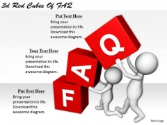 Business Intelligence Strategy 3d Red Cubes Of Faq Character Models