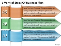 Business Level Strategy 3 Vertical Steps Of Plan Simple Strategic Template Ppt Slide