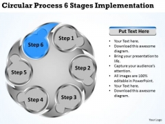 Business Level Strategy Circluar Process 6 Stages Implementation Ppt