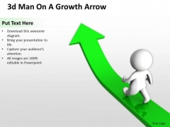 Business Life Cycle Diagram 3d Man On Growth Arrow PowerPoint Templates