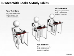 Business Life Cycle Diagram 3d Men With Books Study Tables PowerPoint Templates