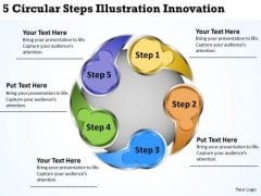 Business Logic Diagram 5 Circular Steps Illustration Innovation PowerPoint Slides