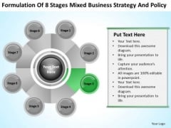 Business Logic Diagram Of 8 Stages Mixed Strategy And Policy Ppt 3 PowerPoint Slides
