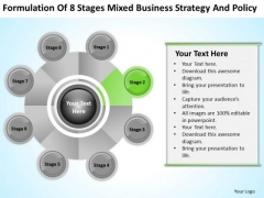 Business Logic Diagram Of 8 Stages Mixed Strategy And Policy Ppt PowerPoint Slide