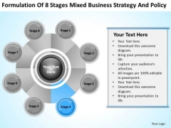 Business Logic Diagram Of 8 Stages Mixed Strategy And Policy Ppt PowerPoint Slides