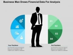 Business Man Draws Financial Data For Analysis PowerPoint Templates