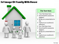 Business Management Strategy 3d Image Of Family With House Concept