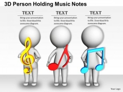 Business Management Strategy 3d Person Holding Music Notes Character