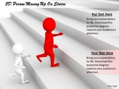 Business Management Strategy 3d Person Moving Up Stairs Character