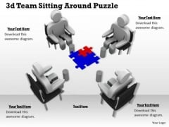 Business Management Strategy 3d Team Sitting Around Puzzle Adaptable Concepts