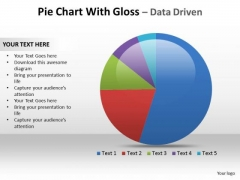 Business Marketing PowerPoint Templates Business Pie Chart With Gloss Ppt Slides
