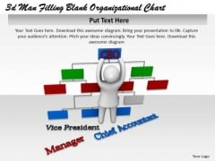 Business Marketing Strategy 3d Man Filling Blank2 Organizational Chart Character