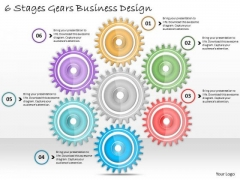 Business Marketing Strategy 6 Stages Gears Design Strategic Planning Ppt Slide