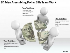Business Men 3d Assembling Dollar Bills Team Work PowerPoint Slides