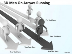 Business Men 3d On Arrows Running PowerPoint Templates Ppt Backgrounds For Slides
