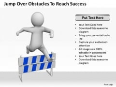 Business Men Jump Over Obstacles To Reach Success PowerPoint Templates Ppt Backgrounds For Slides