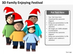Business Model Diagram 3d Family Enjoying Festival PowerPoint Templates