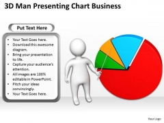 Business Model Diagram Examples 3d Man Presenting Chart PowerPoint Theme Slides