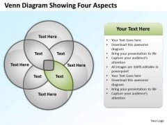 Business Model Diagram Examples Venn Showing Four Aspects Ppt PowerPoint Templates