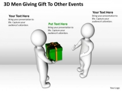 Business Model Diagrams 3d Men Giving Gift To Other Events PowerPoint Slides