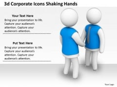 Business Model Strategy 3d Corporate Icons Shaking Hands Concept