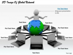 Business Model Strategy 3d Image Of Global Network Character