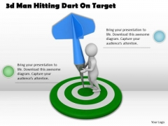 Business Model Strategy 3d Man Hitting Dart On Target Basic Concepts