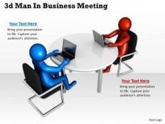 Business Model Strategy 3d Man Meeting Basic Concepts