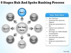 Business Network Diagram 8 Stages Hub And Spoke Banking Process Ppt PowerPoint Templates