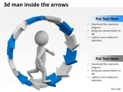 Business Network Diagram Examples 3d Man Inside The Arrows PowerPoint Slides