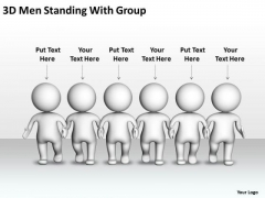 Business Network Diagram Examples 3d Men Standing With Group PowerPoint Templates