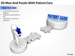 Business Organizational Chart Examples 3d Man And Puzzle With Patient Care PowerPoint Templates