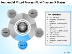 Business Organizational Chart Examples Mixed Process Flow Diagram 5 Stages PowerPoint Slide
