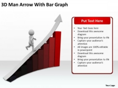 Business Organizational Chart Template 3d Man Arrow With Bar Graph PowerPoint Templates