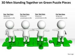 Business Organizational Chart Template Together Green Puzzle Pieces PowerPoint Templates