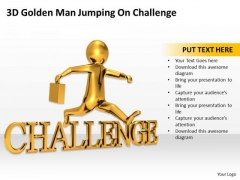 Business People 3d Golden Man Jumping On Challenge PowerPoint Slides