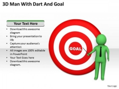 Business People 3d Man With Dart And Goal PowerPoint Slides