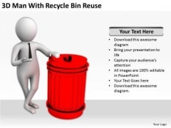 Business People 3d Man With Recycle Bin Reuse PowerPoint Templates Ppt Backgrounds For Slides