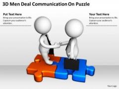Business People 3d Men Deal Communication Puzzle PowerPoint Slides