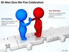 Business People 3d Men Give Five Celebration PowerPoint Slides