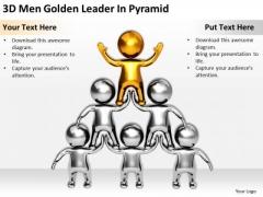 Business People 3d Men Golden Leader Pyramid PowerPoint Slides