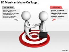 Business People 3d Men Handshake On Target PowerPoint Slides