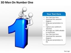 Business People 3d Men On Number One PowerPoint Templates Ppt Backgrounds For Slides